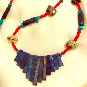 Handmade Turquoise Coral Lapis Fetish Necklace